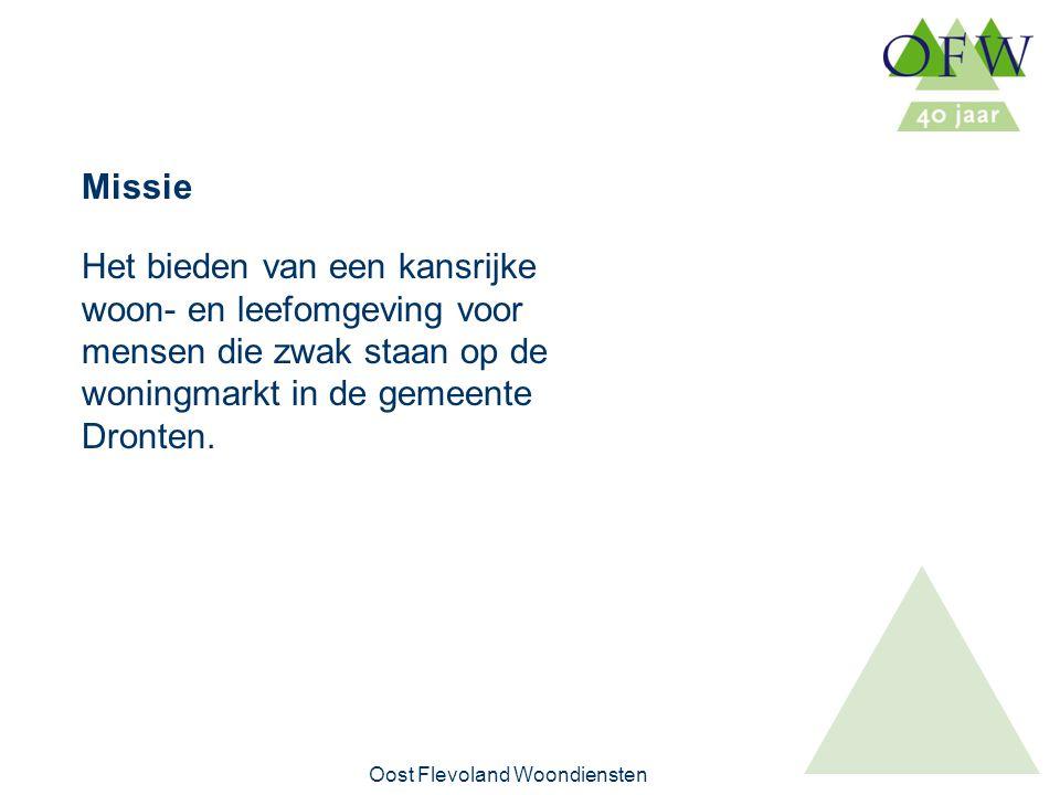 Oost Flevoland Woondiensten Het bieden van een kansrijke woon- en leefomgeving voor mensen die zwak staan op de woningmarkt in de gemeente Dronten.