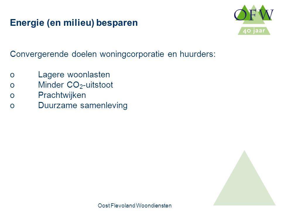 Oost Flevoland Woondiensten Interne duurzaamheid - toetsingscriteria Aspecten van duurzaamheid waarop getoetst wordt: – besparing van gebruik van fossiele brandstoffen en beperking CO 2 -uitstoot – hergebruik van materialen (cradle tor cradle) – beperking en scheiding van afval – beperking gebruik van materialen – gebruik duurzaam (maatschappelijk verantwoord) geproduceerde materialen