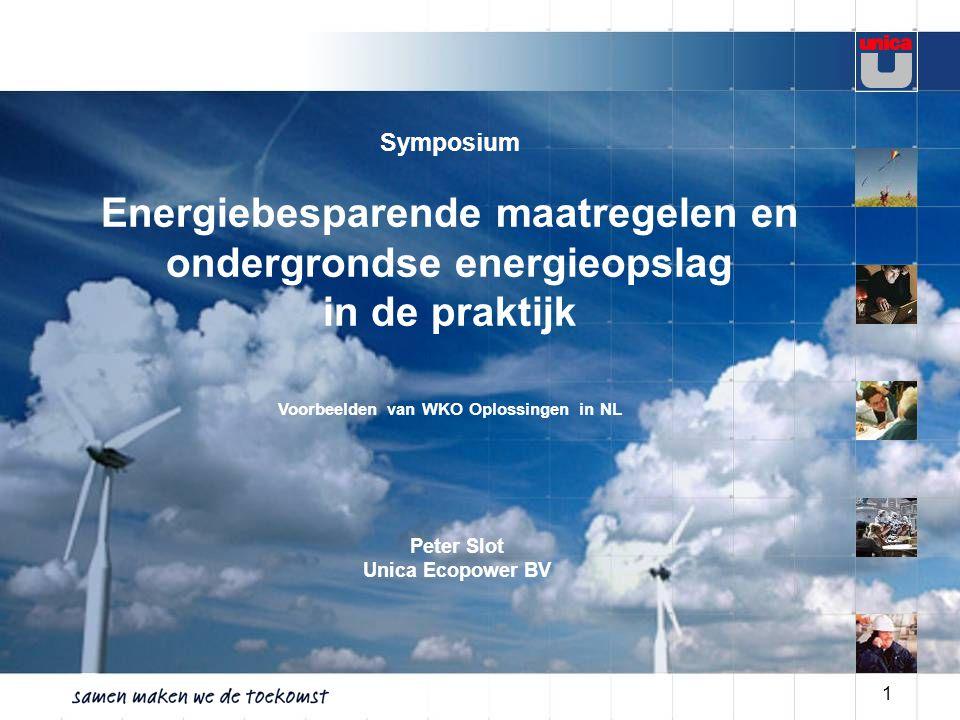 1 Symposium Energiebesparende maatregelen en ondergrondse energieopslag in de praktijk Voorbeelden van WKO Oplossingen in NL Peter Slot Unica Ecopower BV