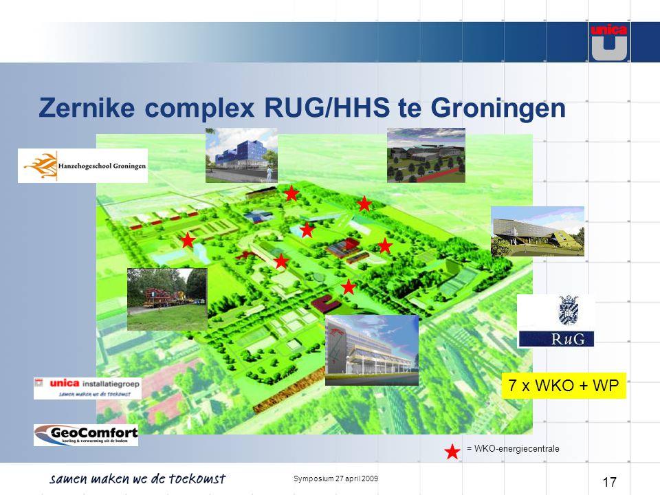 Symposium 27 april 2009 17 Zernike complex RUG/HHS te Groningen = WKO-energiecentrale 7 x WKO + WP