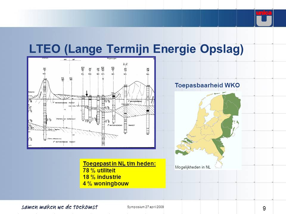 Symposium 27 april 2009 9 LTEO (Lange Termijn Energie Opslag) Toepasbaarheid WKO Mogelijkheden in NL Toegepast in NL t/m heden: 78 % utiliteit 18 % in