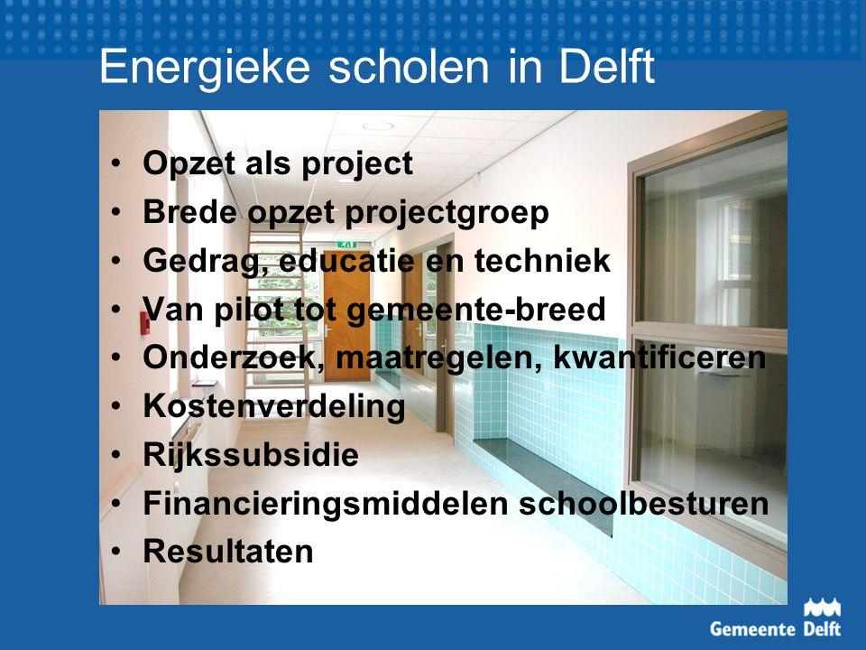 Energieke scholen in Delft Opzet als project Brede opzet projectgroep Gedrag, educatie en techniek Van pilot tot gemeente-breed Onderzoek, maatregelen, kwantificeren Kostenverdeling Rijkssubsidie Financieringsmiddelen schoolbesturen Resultaten