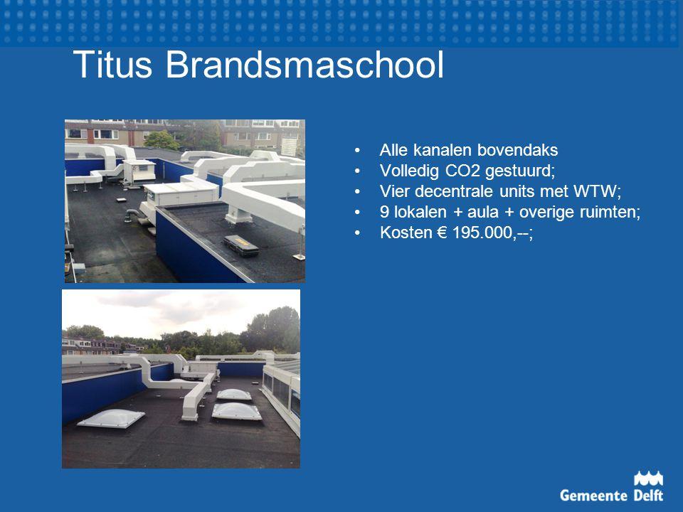 Titus Brandsmaschool Alle kanalen bovendaks Volledig CO2 gestuurd; Vier decentrale units met WTW; 9 lokalen + aula + overige ruimten; Kosten € 195.000,--;