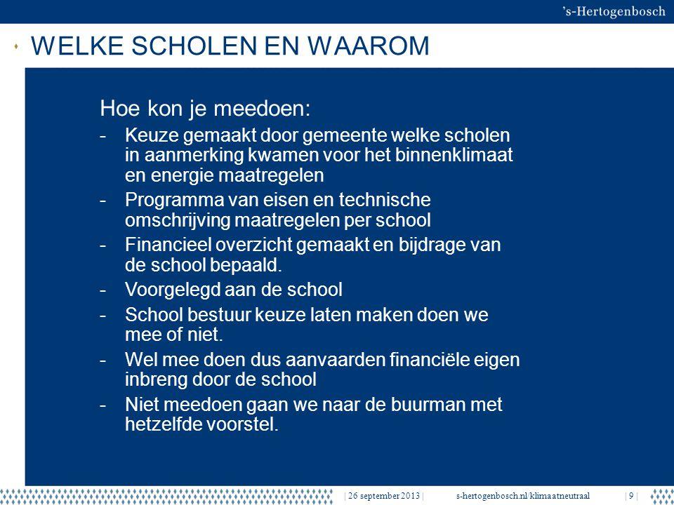 WELKE SCHOLEN EN WAAROM   26 september 2013  s-hertogenbosch.nl/klimaatneutraal  9   Hoe kon je meedoen: -Keuze gemaakt door gemeente welke scholen in aanmerking kwamen voor het binnenklimaat en energie maatregelen -Programma van eisen en technische omschrijving maatregelen per school -Financieel overzicht gemaakt en bijdrage van de school bepaald.