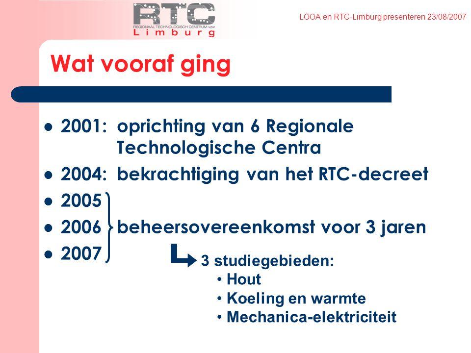 LOOA en RTC-Limburg presenteren 23/08/2007 Wat vooraf ging 2001:oprichting van 6 Regionale Technologische Centra 2004:bekrachtiging van het RTC-decreet 2005 2006 beheersovereenkomst voor 3 jaren 2007 Hout Koeling en warmte Mechanica-elektriciteit 3 studiegebieden:
