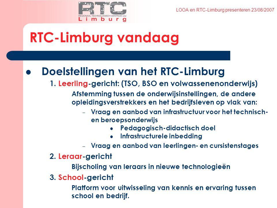 LOOA en RTC-Limburg presenteren 23/08/2007 RTC-Limburg vandaag Doelstellingen van het RTC-Limburg 1.