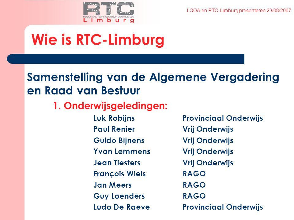 LOOA en RTC-Limburg presenteren 23/08/2007 Samenstelling van de Algemene Vergadering en Raad van Bestuur 1.