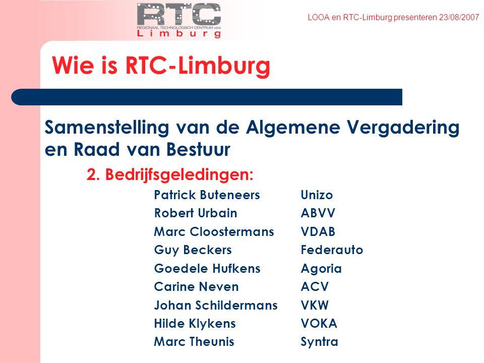 LOOA en RTC-Limburg presenteren 23/08/2007 Samenstelling van de Algemene Vergadering en Raad van Bestuur 2.
