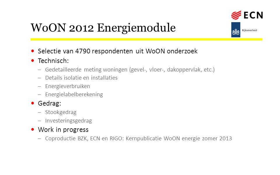 WoON 2012 Energiemodule Selectie van 4790 respondenten uit WoON onderzoek Technisch: –Gedetailleerde meting woningen (gevel-, vloer-, dakoppervlak, et