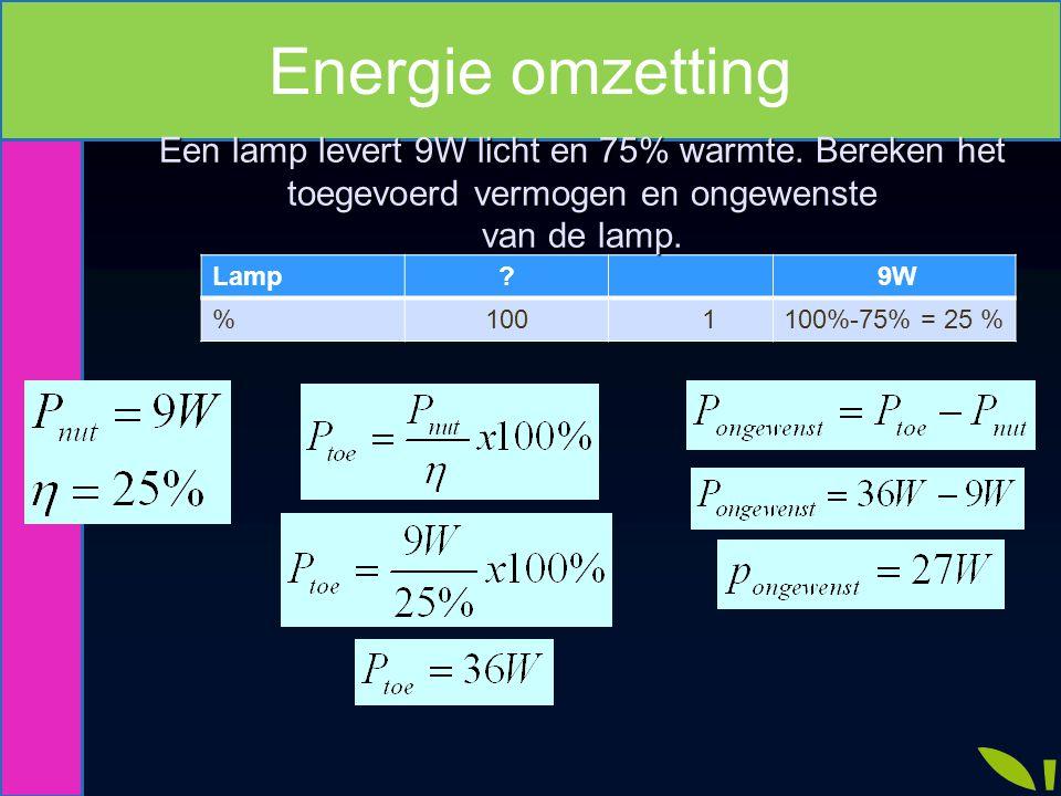 Lamp? 9W %100 1100%-75% = 25 % Een lamp levert 9W licht en 75% warmte. Bereken het toegevoerd vermogen en ongewenste van de lamp.