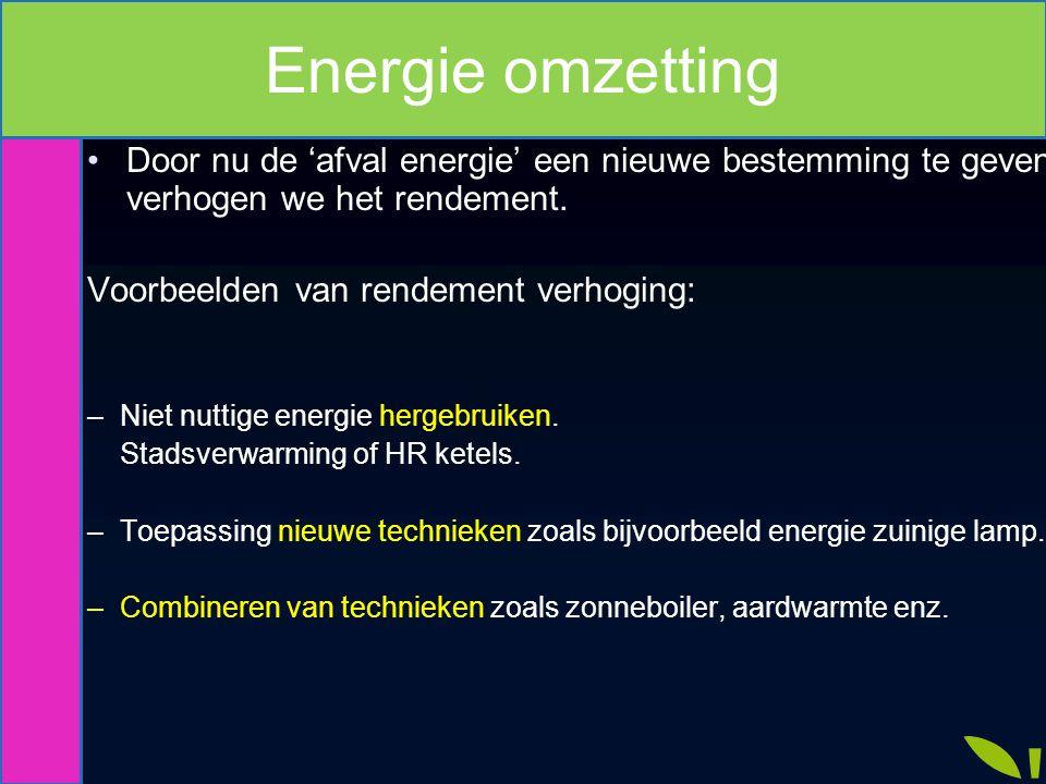 Verhogen rendement. Door nu de 'afval energie' een nieuwe bestemming te geven verhogen we het rendement. Voorbeelden van rendement verhoging: –Niet nu