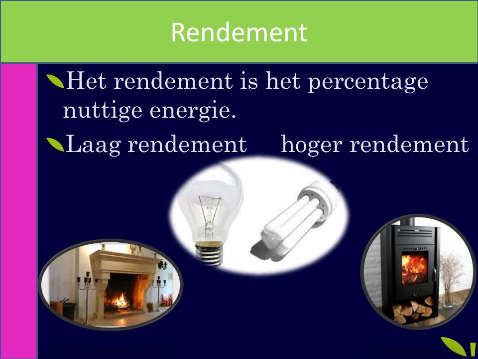 Rendement Het rendement is het percentage nuttige energie. Laag rendement hoger rendement