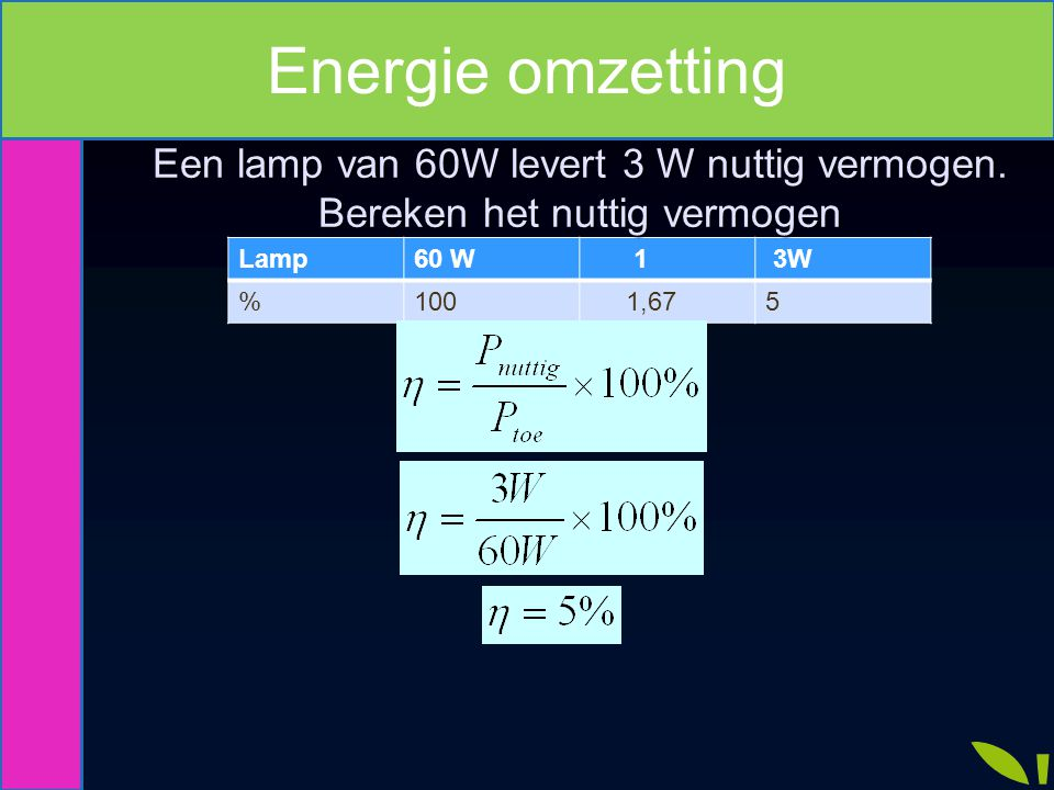 Lamp60 W 1 3W %100 1,675 Energie omzetting Een lamp van 60W levert 3 W nuttig vermogen. Bereken het nuttig vermogen