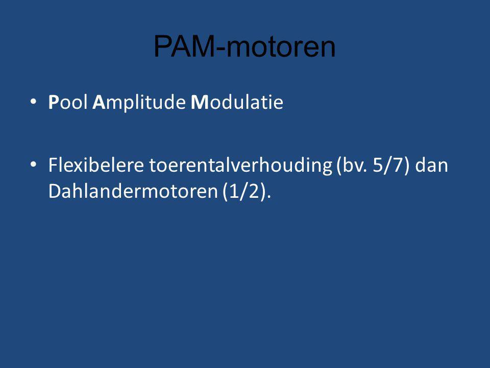 PAM-motoren Pool Amplitude Modulatie Flexibelere toerentalverhouding (bv.
