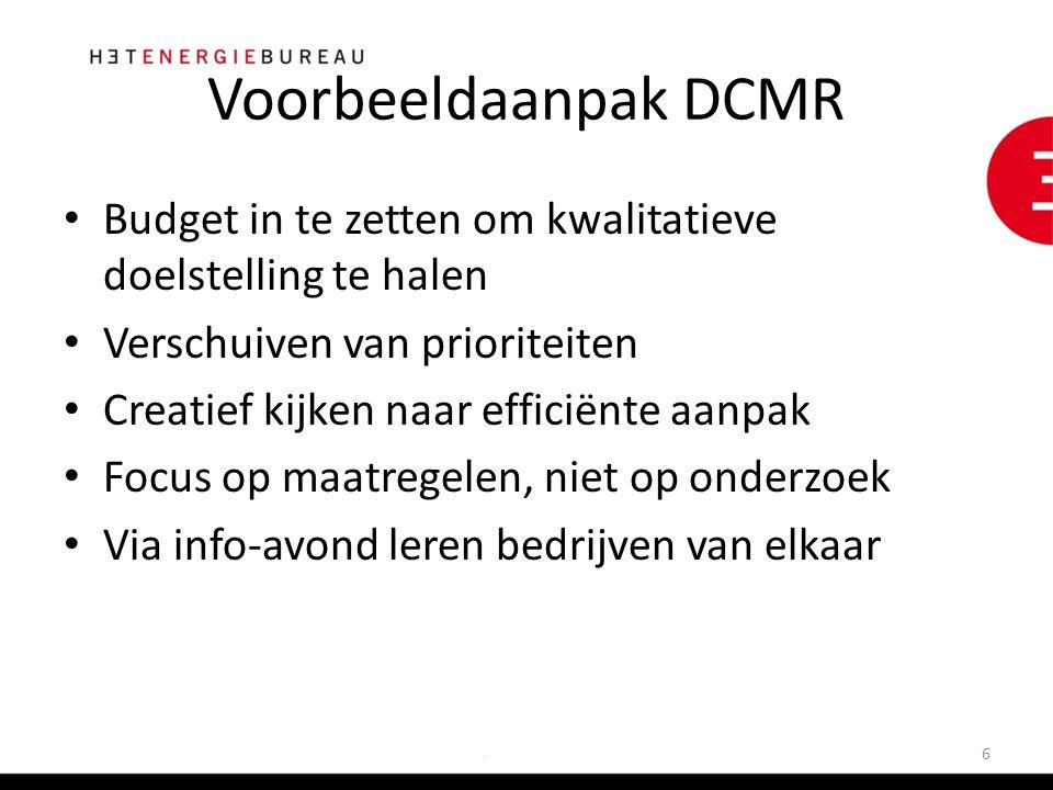 Voorbeeldaanpak DCMR Budget in te zetten om kwalitatieve doelstelling te halen Verschuiven van prioriteiten Creatief kijken naar efficiënte aanpak Focus op maatregelen, niet op onderzoek Via info-avond leren bedrijven van elkaar 6