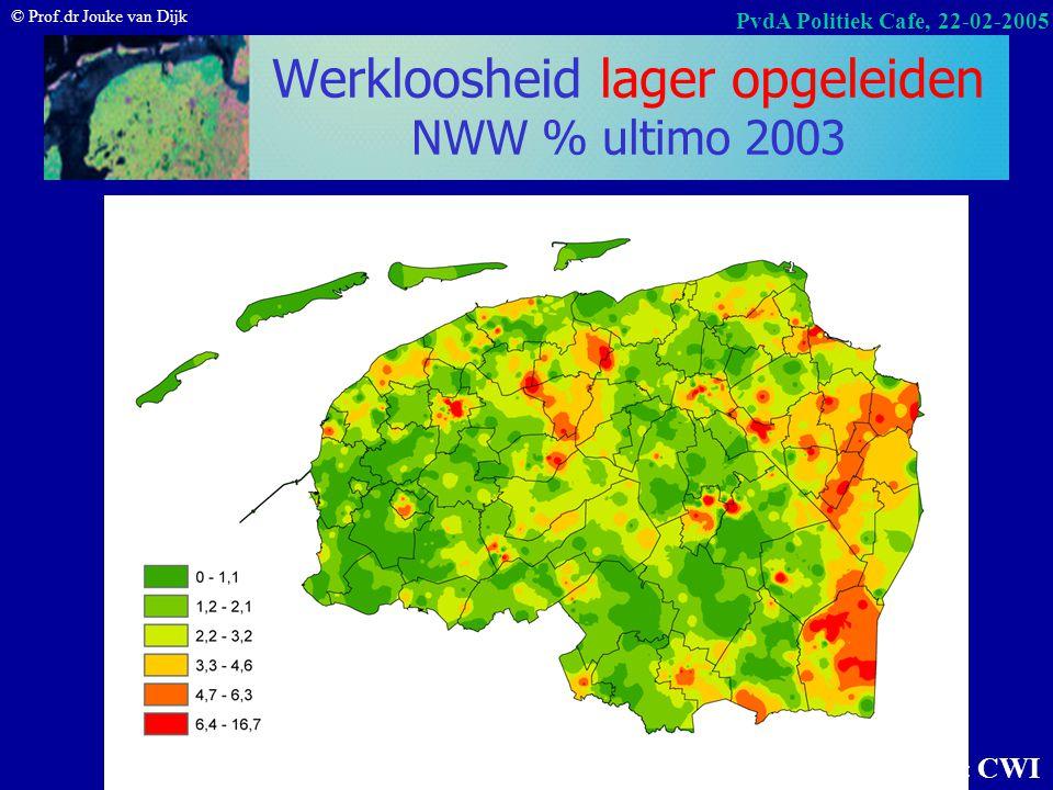 © Prof.dr Jouke van Dijk PvdA Politiek Cafe, 22-02-2005 Groei werkloosheid (NWW) okt.03–okt.04 Werkloosheid groeit 6% in het Noorden en dat is langzam