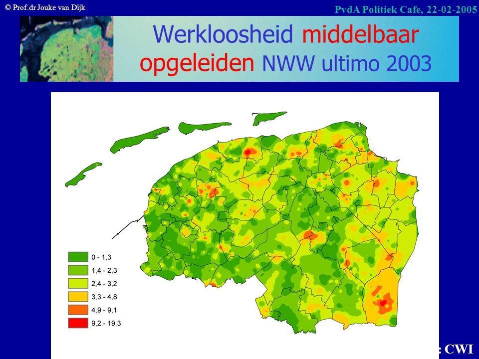 © Prof.dr Jouke van Dijk PvdA Politiek Cafe, 22-02-2005 Werkloosheid lager opgeleiden NWW % ultimo 2003 Bron: CWI