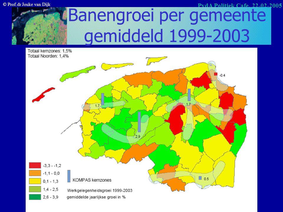 © Prof.dr Jouke van Dijk PvdA Politiek Cafe, 22-02-2005 Werkgelegenheidsgroei in % in Noorden en Nederland prognose Bron: PWR/RUG