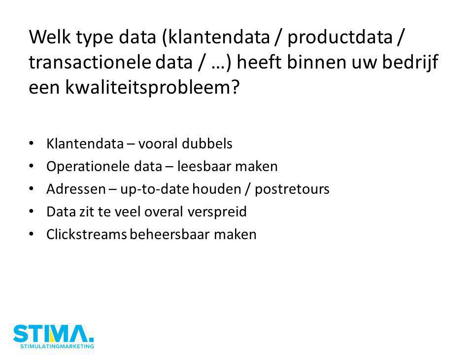 Welk type data (klantendata / productdata / transactionele data / …) heeft binnen uw bedrijf een kwaliteitsprobleem.