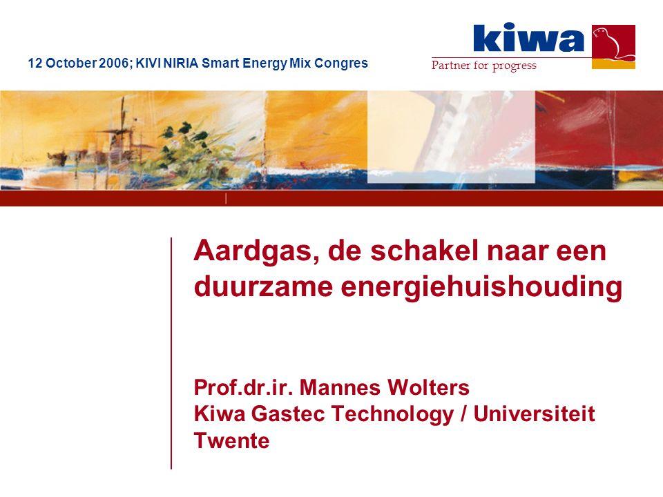 Partner for progress Aardgas, de schakel naar een duurzame energiehuishouding Prof.dr.ir. Mannes Wolters Kiwa Gastec Technology / Universiteit Twente