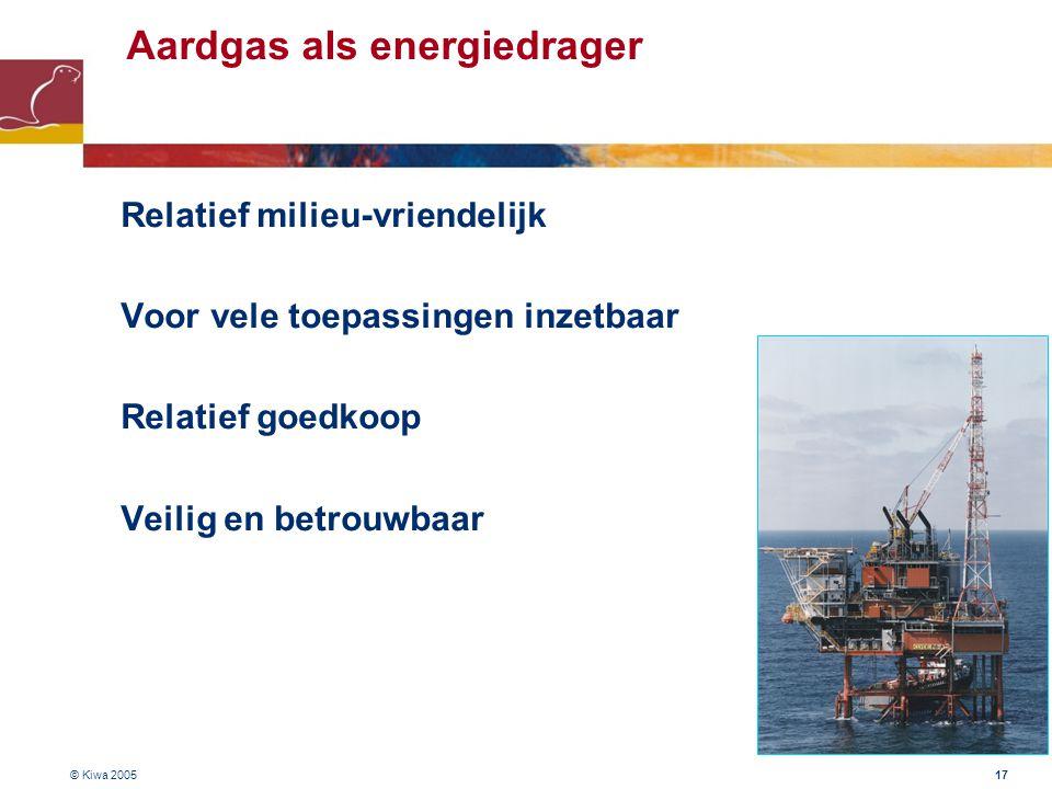 © Kiwa 2005 17 Aardgas als energiedrager –Relatief milieu-vriendelijk –Voor vele toepassingen inzetbaar –Relatief goedkoop –Veilig en betrouwbaar