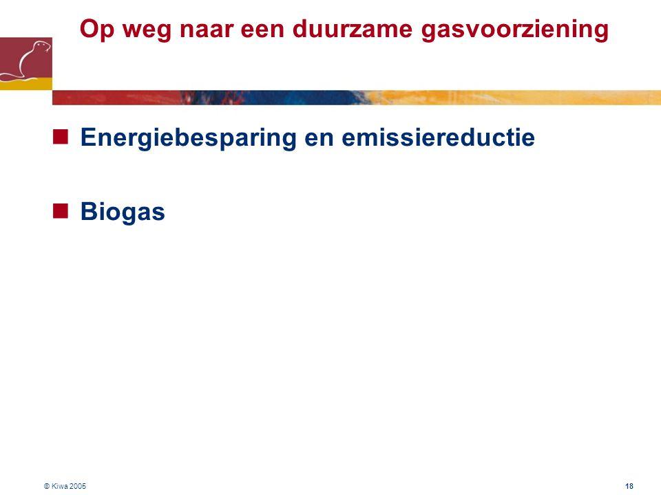 © Kiwa 2005 18 Op weg naar een duurzame gasvoorziening Energiebesparing en emissiereductie Biogas