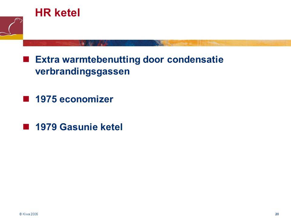 © Kiwa 2005 20 HR ketel Extra warmtebenutting door condensatie verbrandingsgassen 1975 economizer 1979 Gasunie ketel