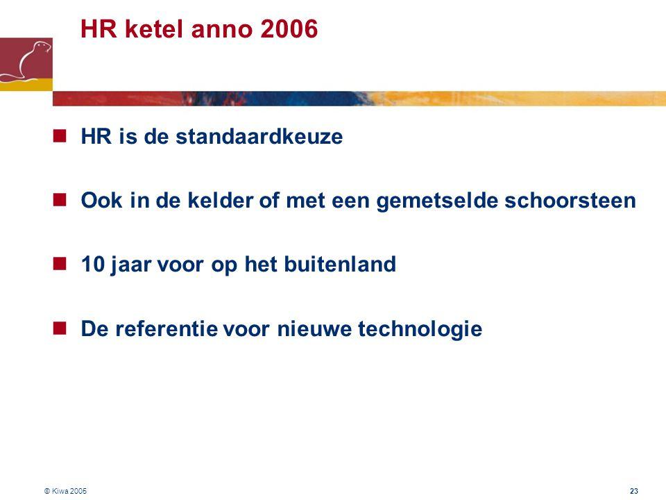 © Kiwa 2005 23 HR ketel anno 2006 HR is de standaardkeuze Ook in de kelder of met een gemetselde schoorsteen 10 jaar voor op het buitenland De referen