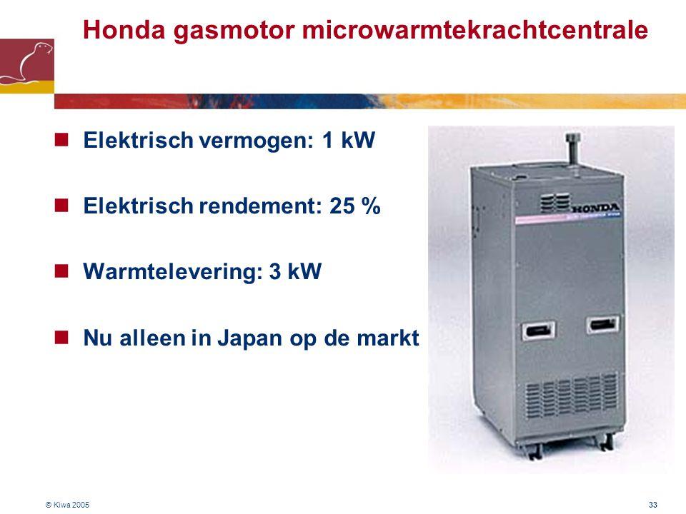 © Kiwa 2005 33 Honda gasmotor microwarmtekrachtcentrale Elektrisch vermogen: 1 kW Elektrisch rendement: 25 % Warmtelevering: 3 kW Nu alleen in Japan o