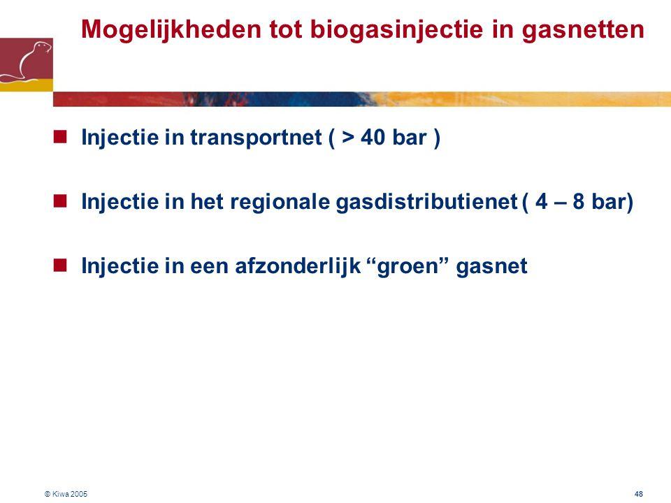 © Kiwa 2005 48 Mogelijkheden tot biogasinjectie in gasnetten Injectie in transportnet ( > 40 bar ) Injectie in het regionale gasdistributienet ( 4 – 8