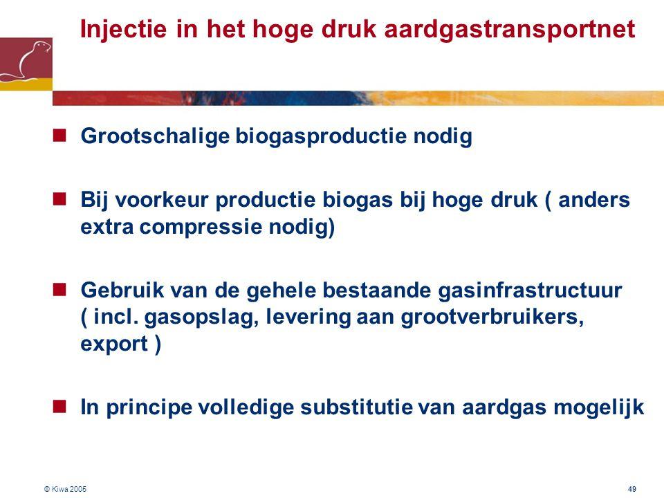© Kiwa 2005 49 Injectie in het hoge druk aardgastransportnet Grootschalige biogasproductie nodig Bij voorkeur productie biogas bij hoge druk ( anders