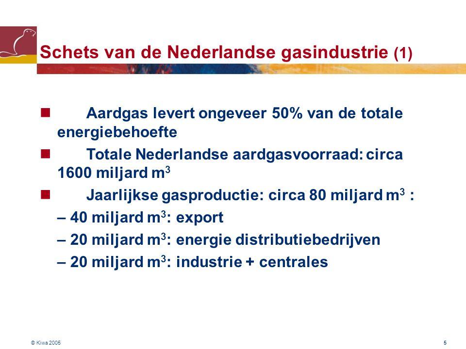 © Kiwa 2005 16 Bestaande gasinfrastructuur wereldwijd (1999) 1.080.000 km transportleidingen 22 liquefaction plants (LNG) (totale capaciteit : 91 MT / jaar) 102 LNG tankers 600 ondergrondse opslagfaciliteiten (werk capaciteit : 300 miljard m 3 ) 4.400.000 km distributie netwerk totale waarde : US $ 1.300 miljard