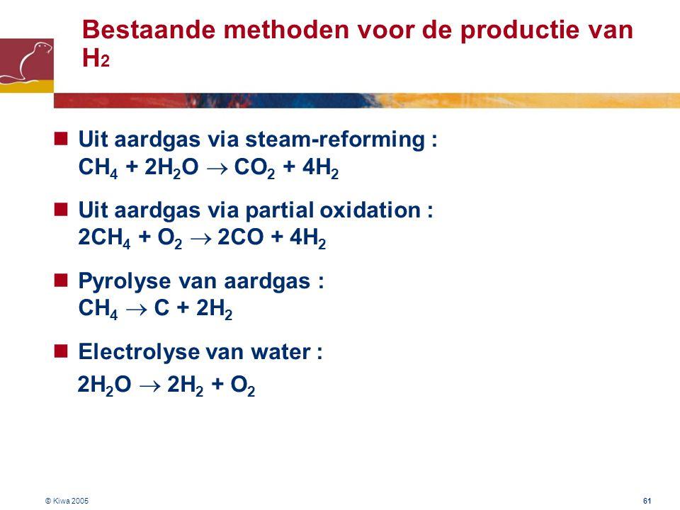 © Kiwa 2005 61 Bestaande methoden voor de productie van H 2 Uit aardgas via steam-reforming : CH 4 + 2H 2 O  CO 2 + 4H 2 Uit aardgas via partial oxi
