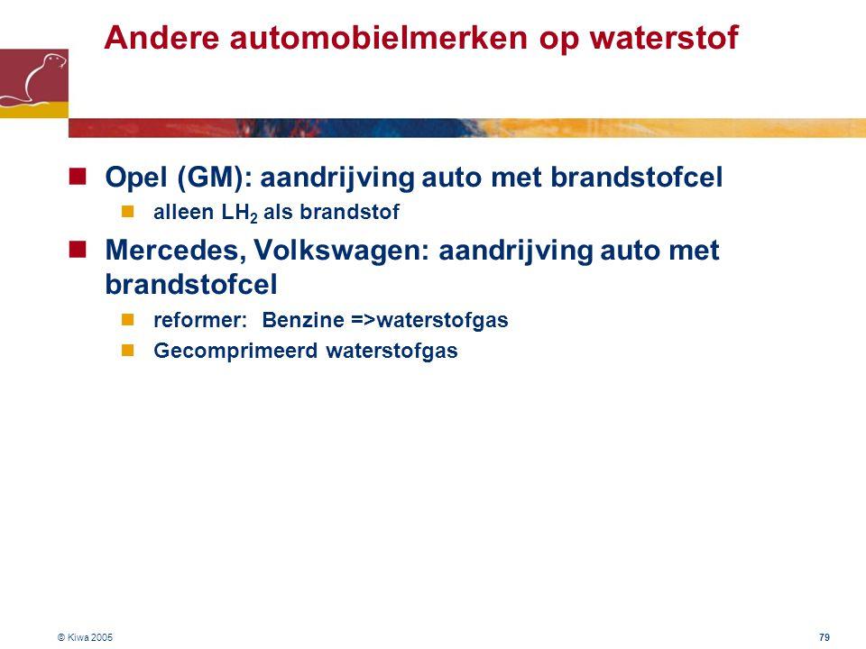 © Kiwa 2005 79 Andere automobielmerken op waterstof Opel (GM): aandrijving auto met brandstofcel alleen LH 2 als brandstof Mercedes, Volkswagen: aandr