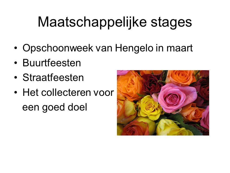 Maatschappelijke stages Opschoonweek van Hengelo in maart Buurtfeesten Straatfeesten Het collecteren voor een goed doel
