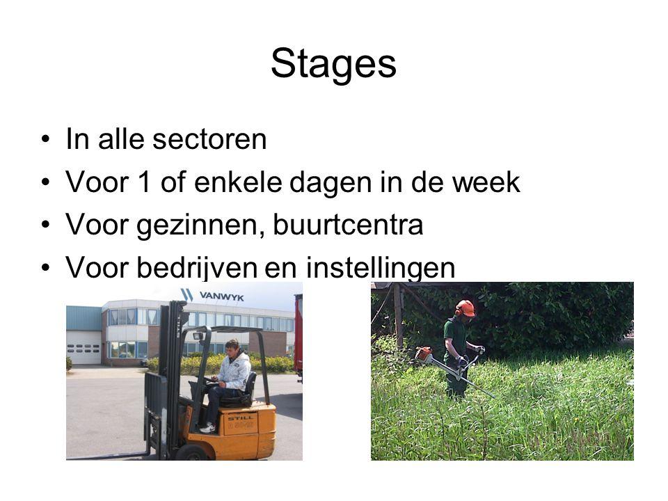 Stages In alle sectoren Voor 1 of enkele dagen in de week Voor gezinnen, buurtcentra Voor bedrijven en instellingen