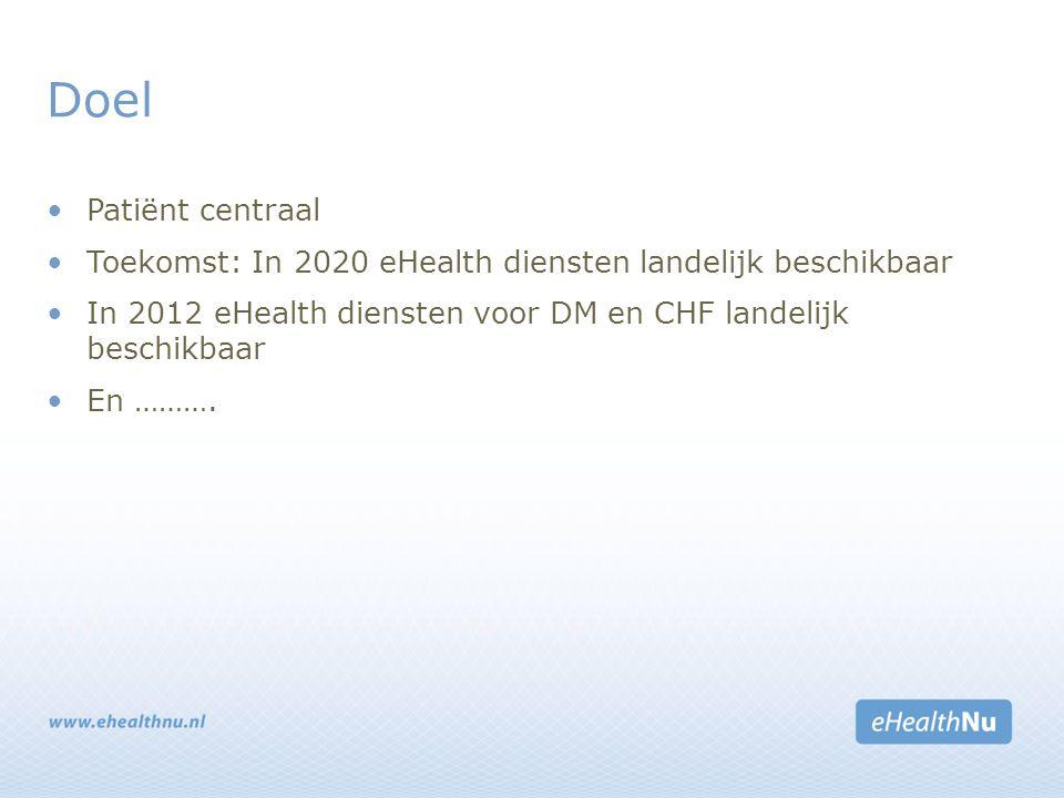Doel Patiënt centraal Toekomst: In 2020 eHealth diensten landelijk beschikbaar In 2012 eHealth diensten voor DM en CHF landelijk beschikbaar En ……….