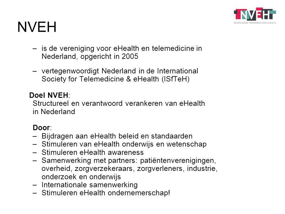 –is de vereniging voor eHealth en telemedicine in Nederland, opgericht in 2005 –vertegenwoordigt Nederland in de International Society for Telemedicine & eHealth (ISfTeH) Doel NVEH: Structureel en verantwoord verankeren van eHealth in Nederland Door: –Bijdragen aan eHealth beleid en standaarden –Stimuleren van eHealth onderwijs en wetenschap –Stimuleren eHealth awareness –Samenwerking met partners: patiëntenverenigingen, overheid, zorgverzekeraars, zorgverleners, industrie, onderzoek en onderwijs –Internationale samenwerking –Stimuleren eHealth ondernemerschap.