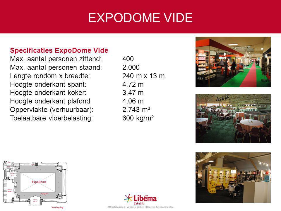 Specificaties ExpoDome Vide Max.aantal personen zittend:400 Max.