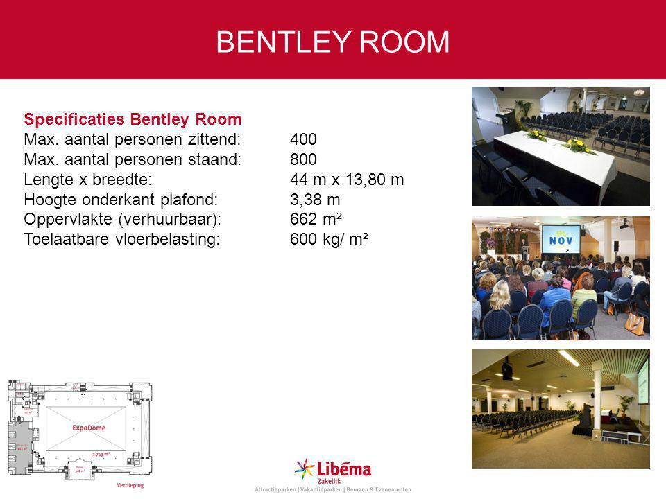 Specificaties Bentley Room Max.aantal personen zittend:400 Max.