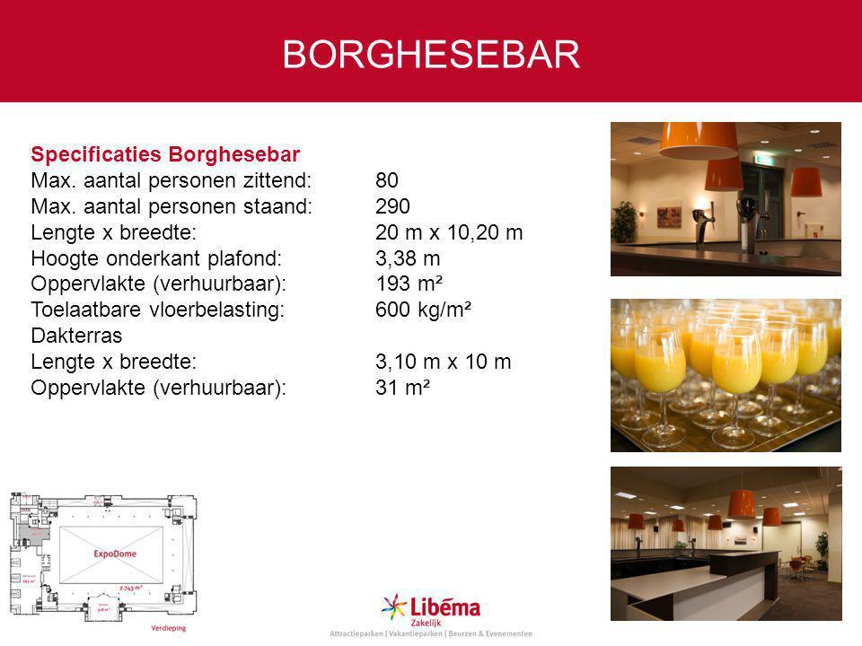 Specificaties Borghesebar Max.aantal personen zittend:80 Max.