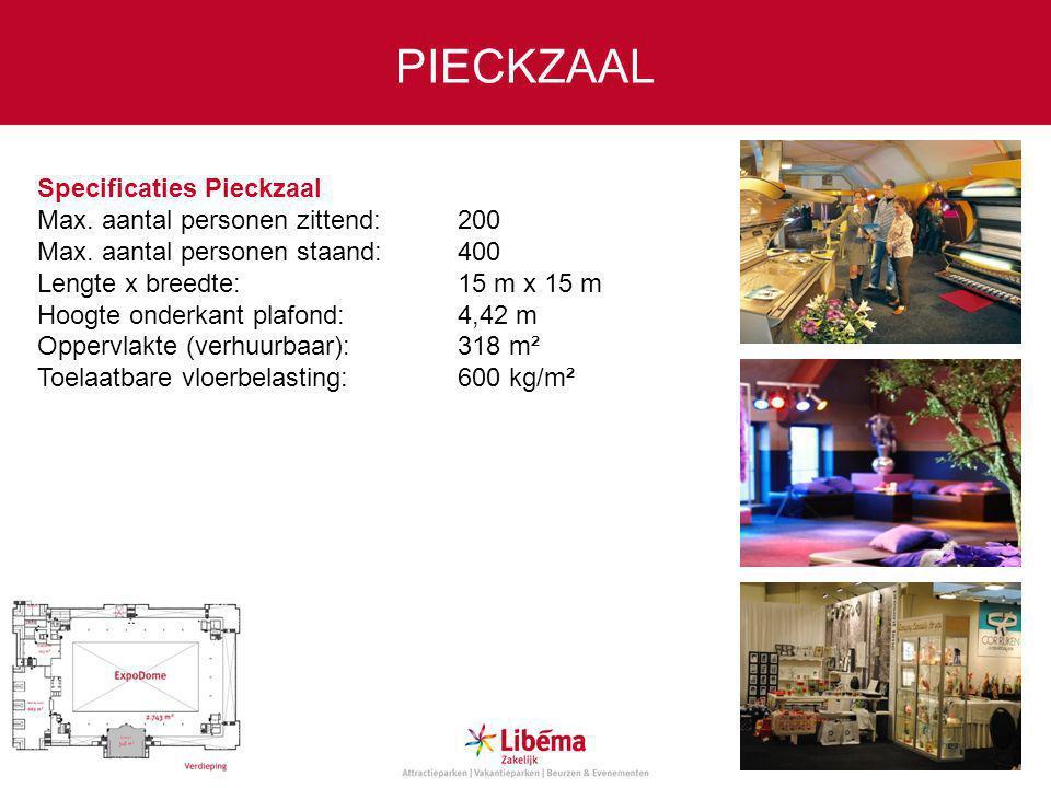 Specificaties Pieckzaal Max.aantal personen zittend:200 Max.