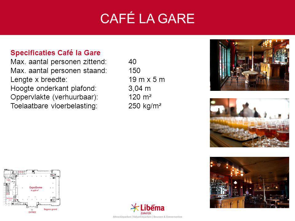 Specificaties Café la Gare Max.aantal personen zittend:40 Max.