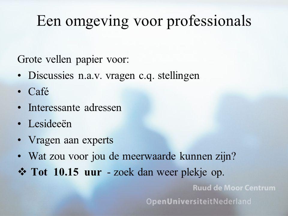 Een omgeving voor professionals Grote vellen papier voor: Discussies n.a.v. vragen c.q. stellingen Café Interessante adressen Lesideeën Vragen aan exp
