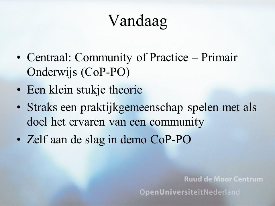 Vandaag Centraal: Community of Practice – Primair Onderwijs (CoP-PO) Een klein stukje theorie Straks een praktijkgemeenschap spelen met als doel het e