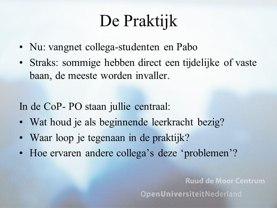 De Praktijk Nu: vangnet collega-studenten en Pabo Straks: sommige hebben direct een tijdelijke of vaste baan, de meeste worden invaller. In de CoP- PO