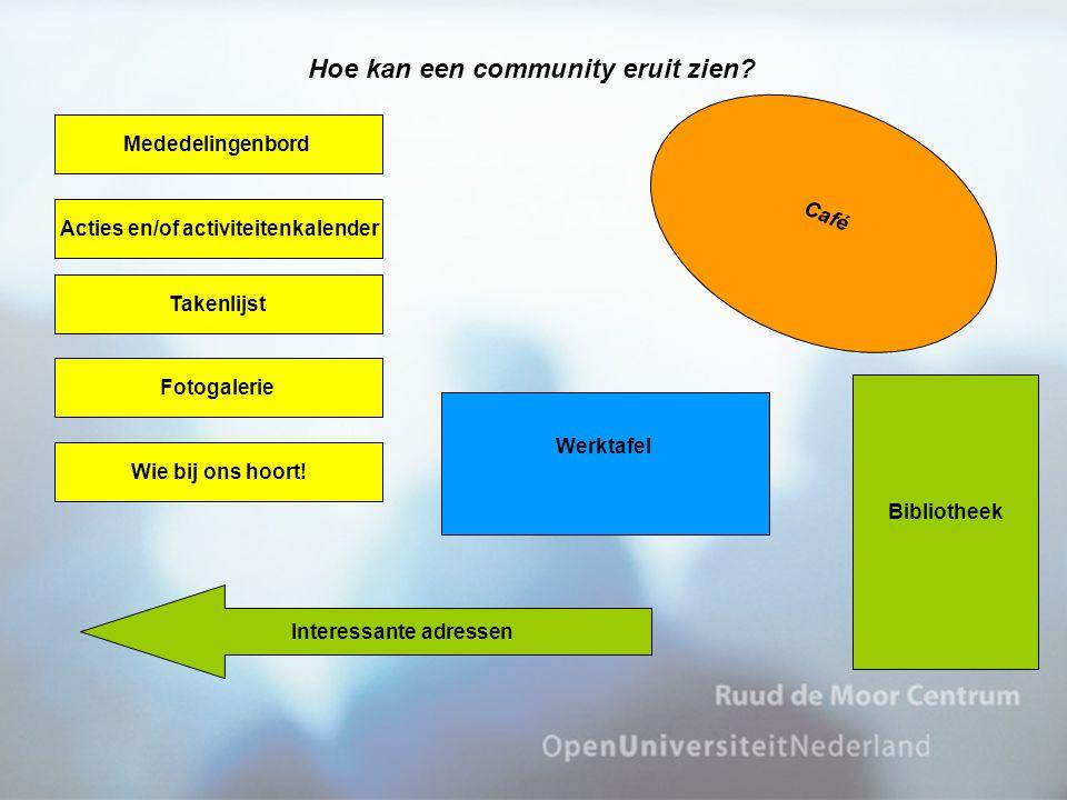 Plattegrond/omgeving van een mogelijke CoP Hoe kan een community eruit zien? Mededelingenbord Acties en/of activiteitenkalender Takenlijst Fotogalerie