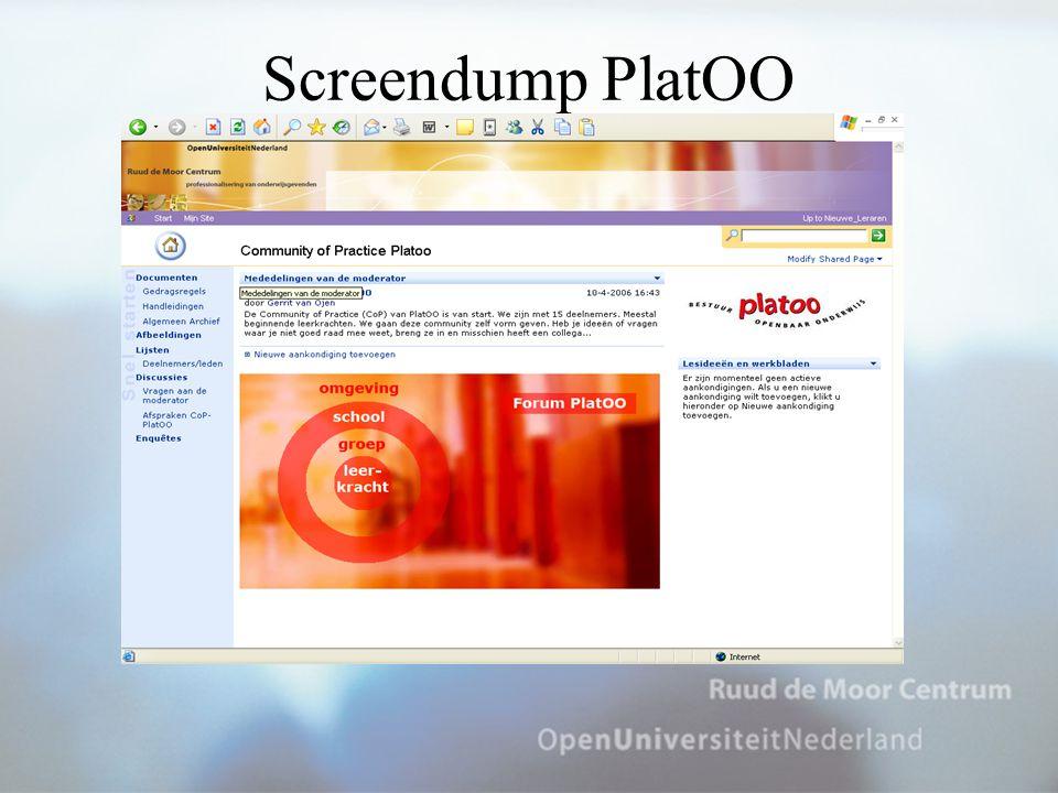 De CoP-PlatOO Er zijn … computers Bij iedere pc een handleiding Stoppen om 17.20 uur
