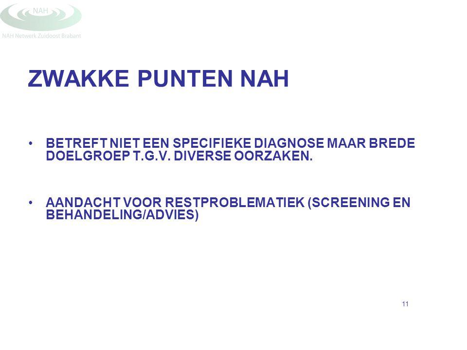 ZWAKKE PUNTEN NAH BETREFT NIET EEN SPECIFIEKE DIAGNOSE MAAR BREDE DOELGROEP T.G.V. DIVERSE OORZAKEN. AANDACHT VOOR RESTPROBLEMATIEK (SCREENING EN BEHA