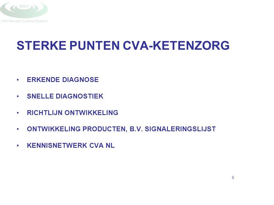 STERKE PUNTEN CVA-KETENZORG ERKENDE DIAGNOSE SNELLE DIAGNOSTIEK RICHTLIJN ONTWIKKELING ONTWIKKELING PRODUCTEN, B.V. SIGNALERINGSLIJST KENNISNETWERK CV
